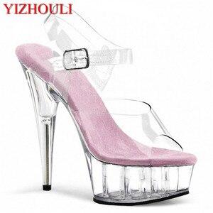 Vrouwen Schoenen Hoge Kwaliteit Vrouwelijke Model T-station Catwalk Sexy Kristal Transparante Schoenen 15 CM Hoge Hakken Waterdichte Hoofd Sandalen(China)