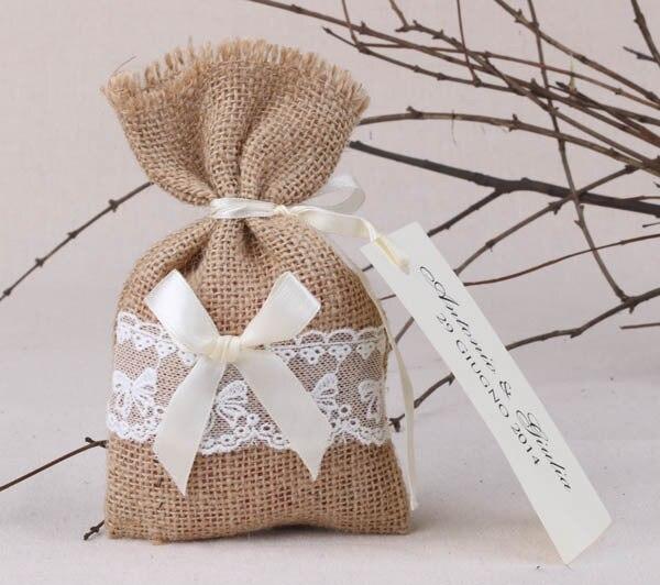 Free Shipping 100pcs Lot Natural Rustic Linen Wedding Favor Bag Lace Burlap Jute