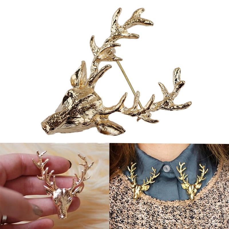 Moda Unissex Ouro & Bronze Antlers Dos Cervos Cabeça Pins Broches Cachecol Camisetas lapela pinos broches parágrafo como mulheres Bijoux Jóias