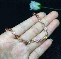 925 пробы серебро круглый сапфир браслет для Для женщин природных драгоценных камней 5x5 мм