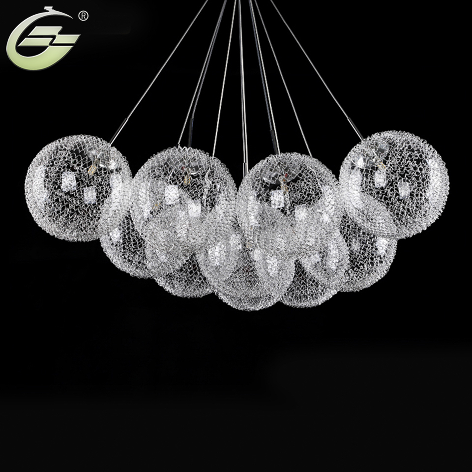 Aluminum wire glass ball chandeliers 10 heads g4 led hanging aluminum wire glass ball chandeliers 10 heads g4 led hanging lighting 110v 240v round ball droplight home decor for hotel hall in chandeliers from lights arubaitofo Gallery