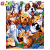 DPF Wool Dog And Cat Oil Painting Digital By Numbers Diy Picture Coloring On Canvas Handmade