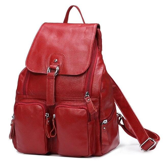 Женский рюкзак из натуральной кожи с карманами 5
