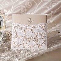 Fashion New Vintage Flower Cute Eegant Lace Wedding Invitations Printing BLank Paper Pocket Cards Kit Bronzing
