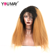 1b/30 Ombre Lace Front Human Hair Wigs 130% Density Colorful Wigs With Baby Hair Brazilian Kinky Straight Remy Hair