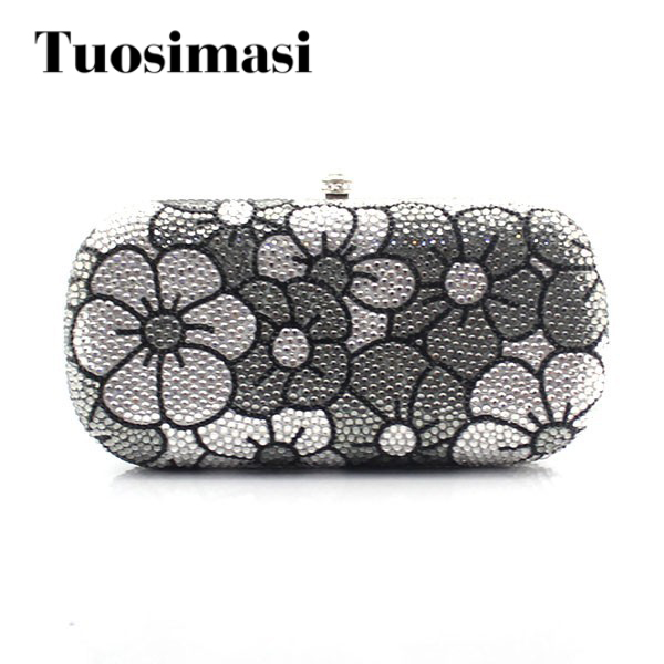 Фотография Fashion ladies bridal wedding rhinestone evening party clutch purse grey and white flower pattern chain bag