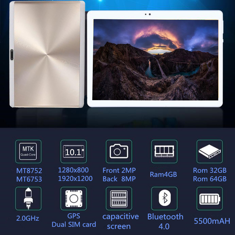 10.1 inch 3G Phone Call 2.5D CD Tablet PC 4GB+64GB Android 8.0 Octa Core 2.0GHz, Dual SIM Support GPS OTG WiFi Bluetooth