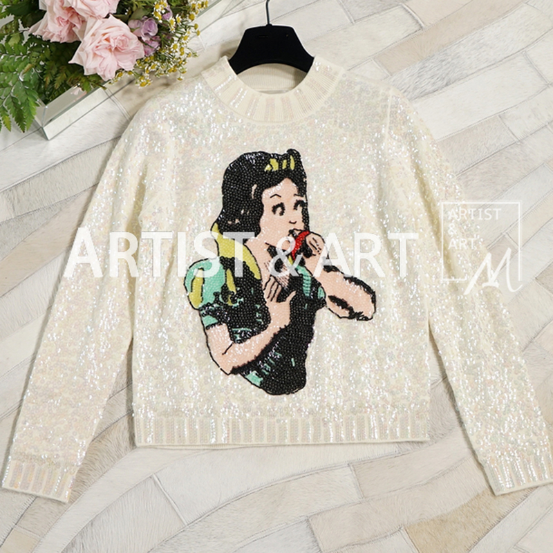Svoryxiu High End Пользовательские осенне зимняя одежда из шерсти свитера Для женщин мир сказки вышивкой пайетками дизайнерские Вязание пуловеры