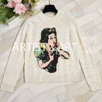 Svoryxiu High End Custom Autumn Winter Wool Sweaters Women's Fairy Tale World Sequined Embroidery Designer Knitting Pullovers