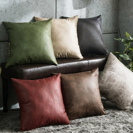 Pu imitation leather cushions cover pillow Case Pure 45x45 American backrest pillow case Soft Home Decorative Pillow cover