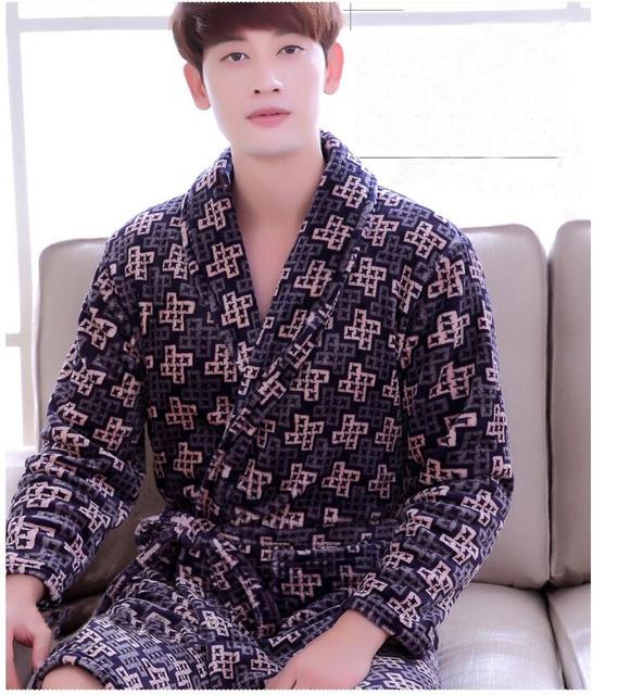 Pijama roupão camisola e outono inverno grossa de flanela de manga comprida dos homens projeto 2017 novo design