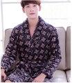 Pijamas camisón albornoz y gruesa franela manga larga de otoño invierno de los hombres de diseño 2017 nuevo diseño