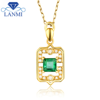 Natural Colombia Green Emerald Pendant Necklace Loving Diamond Jewelry Real Solid 18Kt Yellwo Gold For Mother
