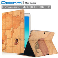 Luxury Map PU Leather case for Samsung Galaxy Tab 4 10.1 SM T530 SM T531 with credit card slots Wallet leather cover case|for samsung galaxy tab|case for samsung tab|tab cases samsung -