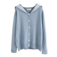 New Preppy Style Women Shirtslt Turn Down Collar Sweater Open 1092 Blouse Shirt White Blue 6463