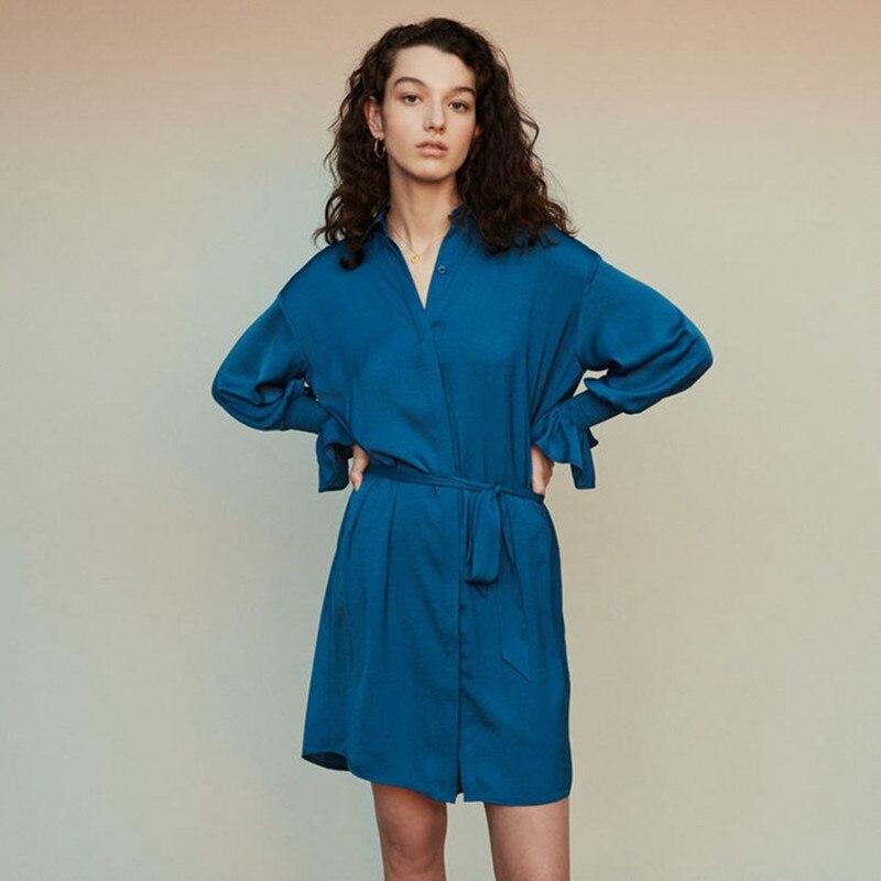 2019 ใหม่ผู้หญิงแขนยาวชุดมินิมินิมินิกับเข็มขัด-ใน ชุดเดรส จาก เสื้อผ้าสตรี บน   1