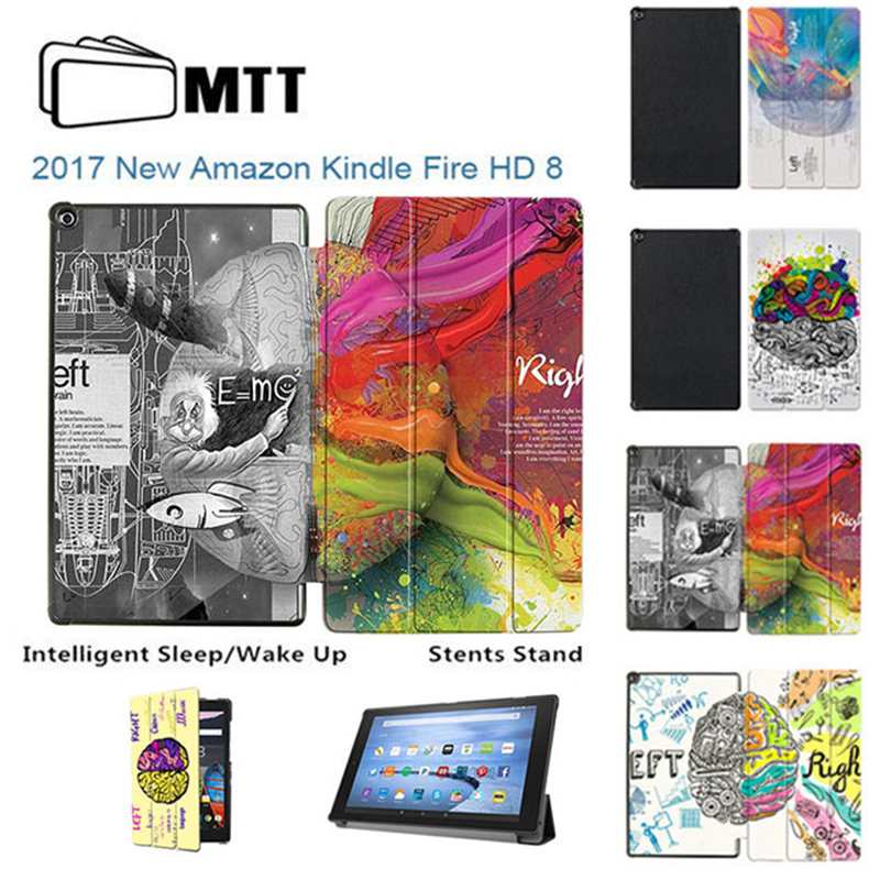 MTT Print Left Right Brain Case for Amazon Kindle Fire HD 8 2017 Tablet Stand Case Cover For Kindle Fire HD 8 inch 2017 Funda