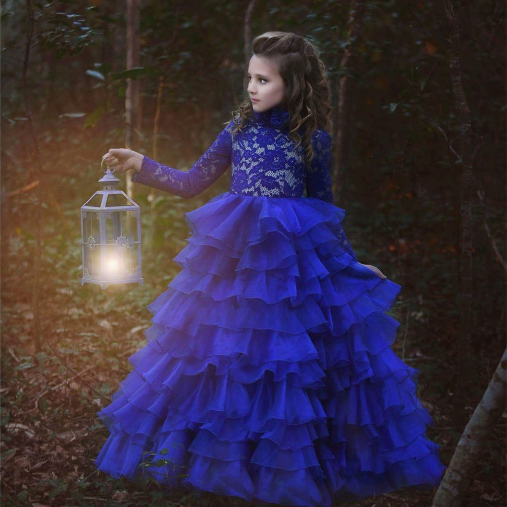 2017 New Arrival Flower Girl Dresses Royal Blue High Neck Long Sleeves Ball Gown Lace Appliques First Communion Pageant Gowns