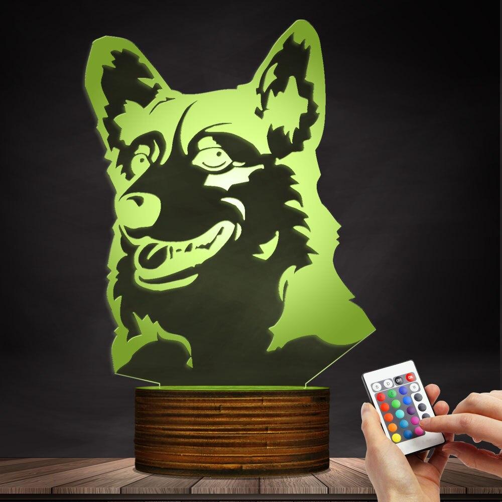 1 pezzo Cardigan Welsh Corgi Cane di Razza 3D Optical illusion Luce Animale Da Compagnia Hound Puppy Moderna Lampada Da Tavolo Della Decorazione LED luce di notte