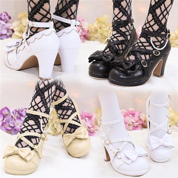 2019 Popular Lolita Shoes Sweet Princess Girls Bowtie Straps Chunky Round Toe Japanese Single Shoes High Heel