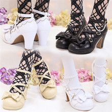 2019 Popular Lolita shoes Sweet Princess Girls Bowtie Straps Chunky Round Toe Japanese Single Shoes High Heel princess sweet lolita shoes loliloli yoyo japanese design custom large size bright silver wedges flatform slippers 7517