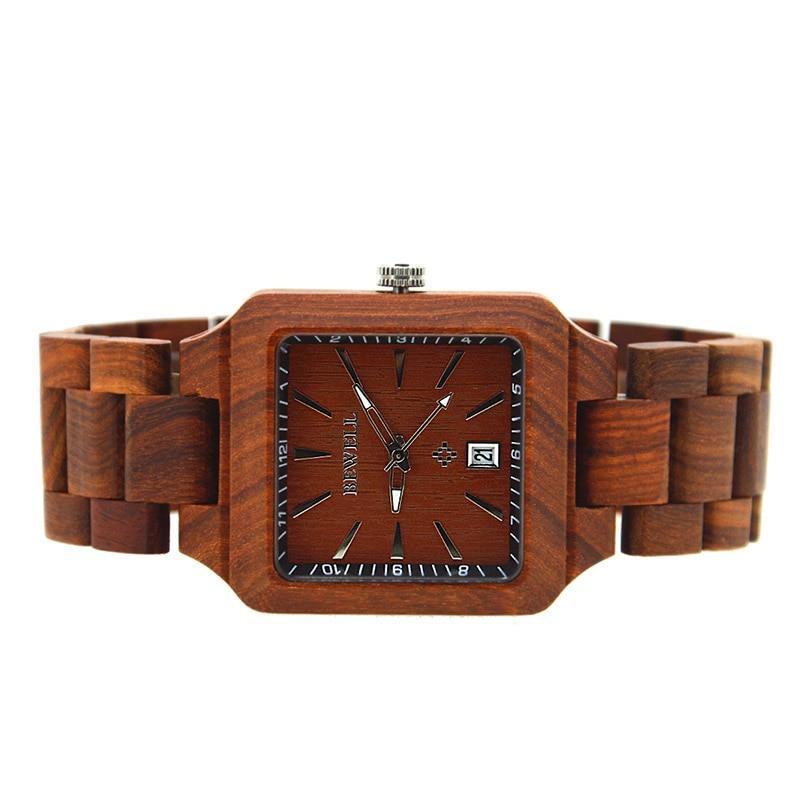 BEWELL luxe houten horloges met kalender mannen mode antieke quartz - Herenhorloges - Foto 4