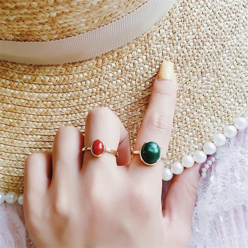 MENGJIQIAO 2019 New Korean 2pcs/set Simple Temperament Semi-precious Stone Rings For Women Fashion Classic Bague Femme Jewelry