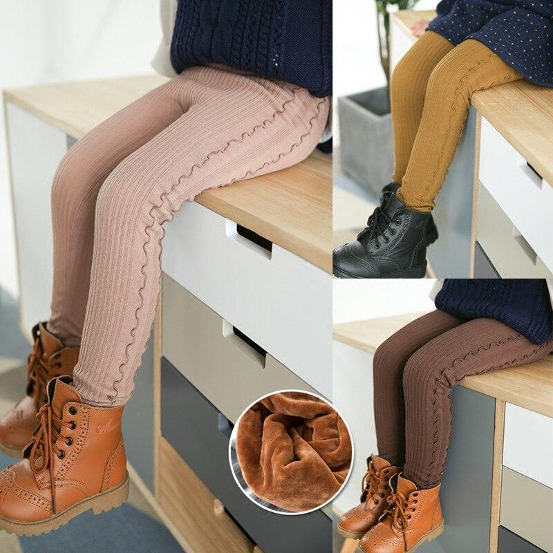 Grils Ruffle Leggings 2021 Winter Children's Plus Thick Velvet Legging Big Virgin Winter Warm Cotton Pants Girls Bottoming Pant 1