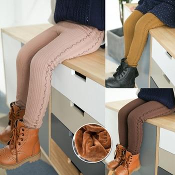 Grils Ruffle Leggings 2020 Winter Children's Plus Thick Velvet Legging Big Virgin Winter Warm Cotton Pants Girls Bottoming Pant 1