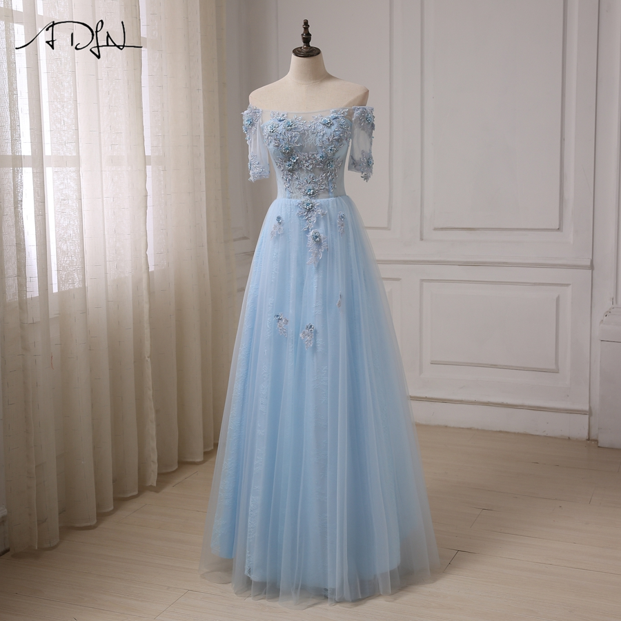 ADLN Robes De Soiree Boat Neck See though Prom Dresses Applique ...