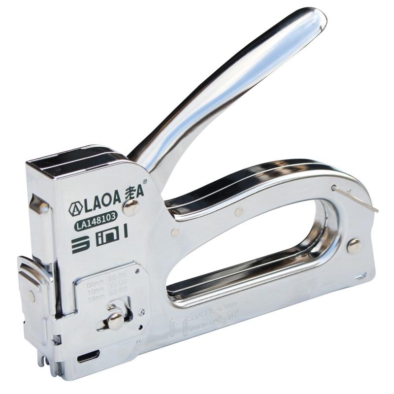 LAOA Nail Gun Upholstery Framing Rivet Staple Guns Kit Furniture Stapler For Wood Door Nailers Rivet Tool Gift with Needles(China)