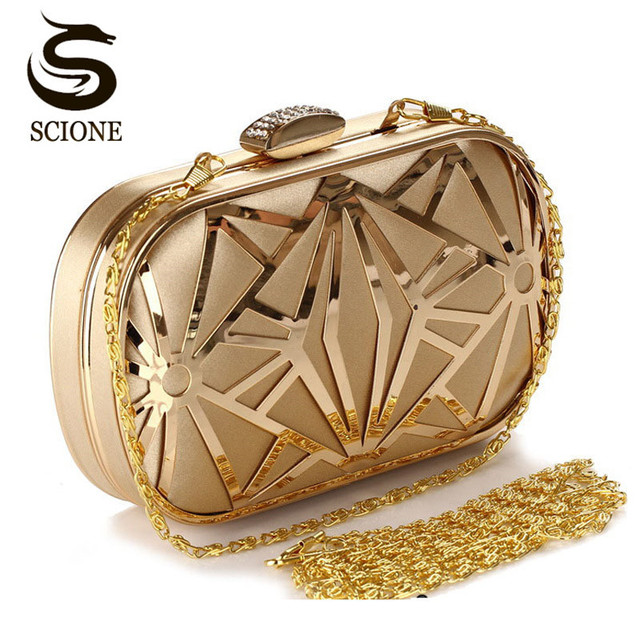 Wedding Party Bags Clutches Women Gold Crystal Evening Purse Factory Price Golden Clutch Bag Black Small Handbag 3030
