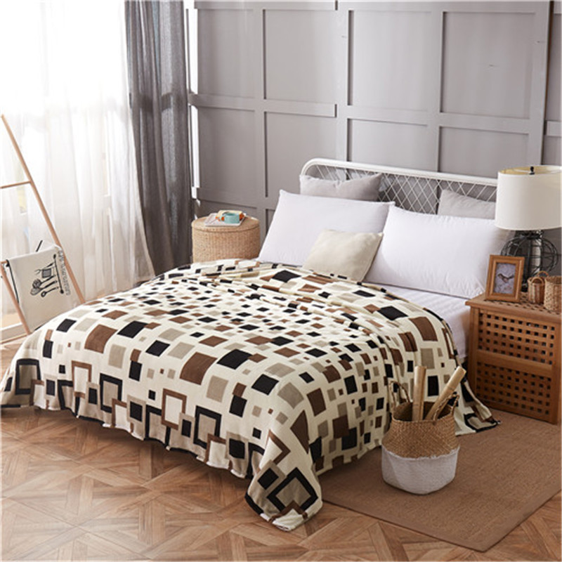 LREA Soft And Comfortable Coral Fleece For Bed And Sofa Grid Blankets 4 Kinds Of Sizes Fashionable Style High Quality Throw