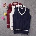Estilo Preppy britânico colete com decote em V JK uniforme escolar sem mangas camisola trançado linha 3 cores