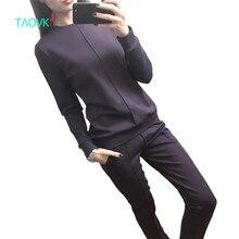 Taovk новые модные российские стиль Для женщин Осенний тренировочный костюм Для женщин Худи 2 комплект из футболки + длинные штаны) Комплект для досуга