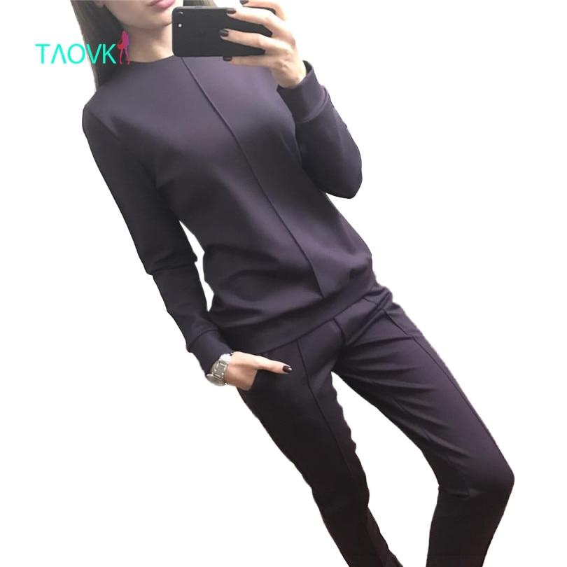Taovk модная новинка русском стиле женская осенний тренировочный костюм женщины толстовки 2 комплект из футболки + длинные штаны) комплект для досуга