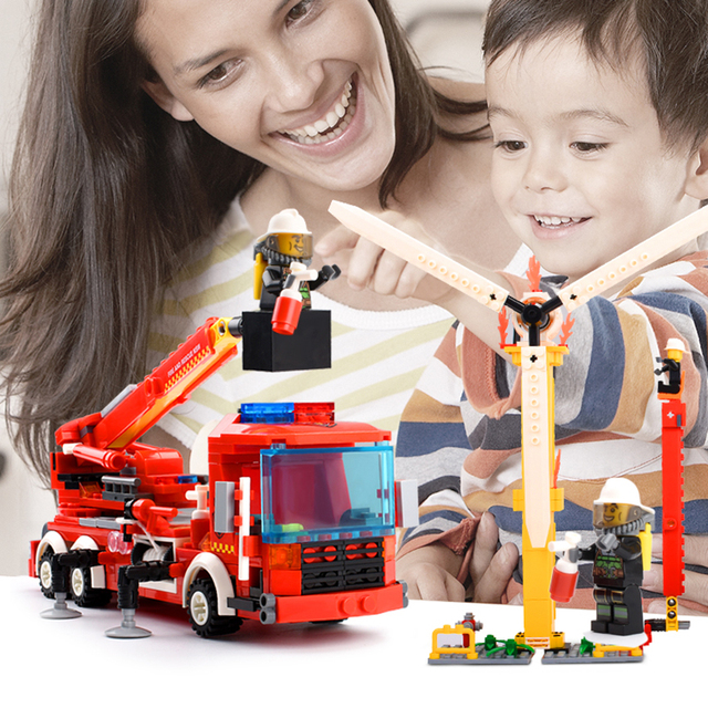 400 Pcs Pemadam Kebakaran Truk Tangga Blok Bangunan Kompatibel Secara Terbuka City Fire Figure Pendidikan Blok Mainan untuk Anak-anak