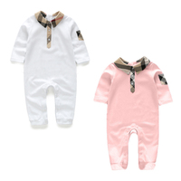 Baby Rompers 100 Cotton Long Sleeve Plaid Collar Style 2 Colors Fashion Style Baby Girl Clothes