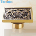 Free Shipping High Quality Antique Brass Carved Flower Art Bathroom Accessory Floor Drain Waste Grate100mm*100mm YT-2110