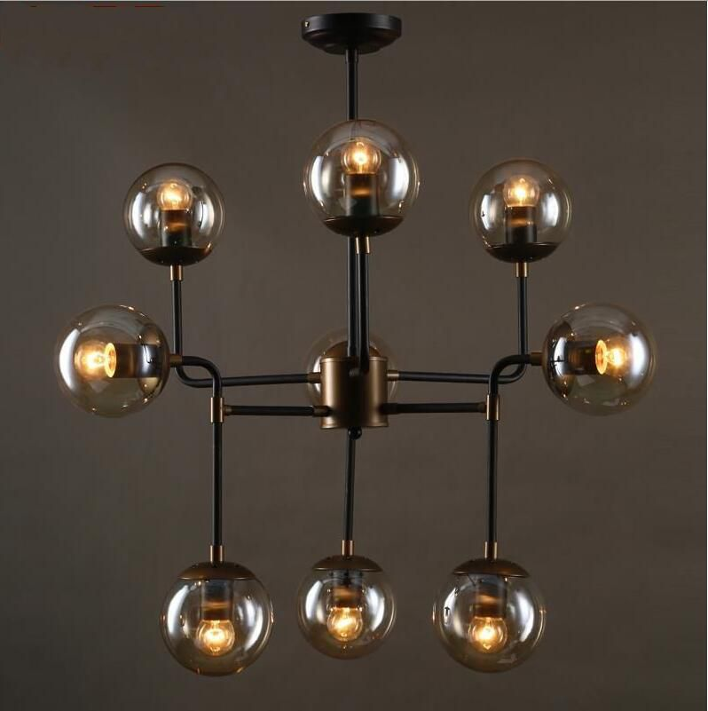 Vintage Industry Chandeliers Black Iron Pendant Lamp 8/9/16 Heads Retro Glass Lighting Fixture Lustres de sala LampadariVintage Industry Chandeliers Black Iron Pendant Lamp 8/9/16 Heads Retro Glass Lighting Fixture Lustres de sala Lampadari