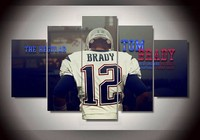 5 Pieces Modern Abstract Art Deco Picture Painting New England Patriots Footballer Tom Brady On Canvas