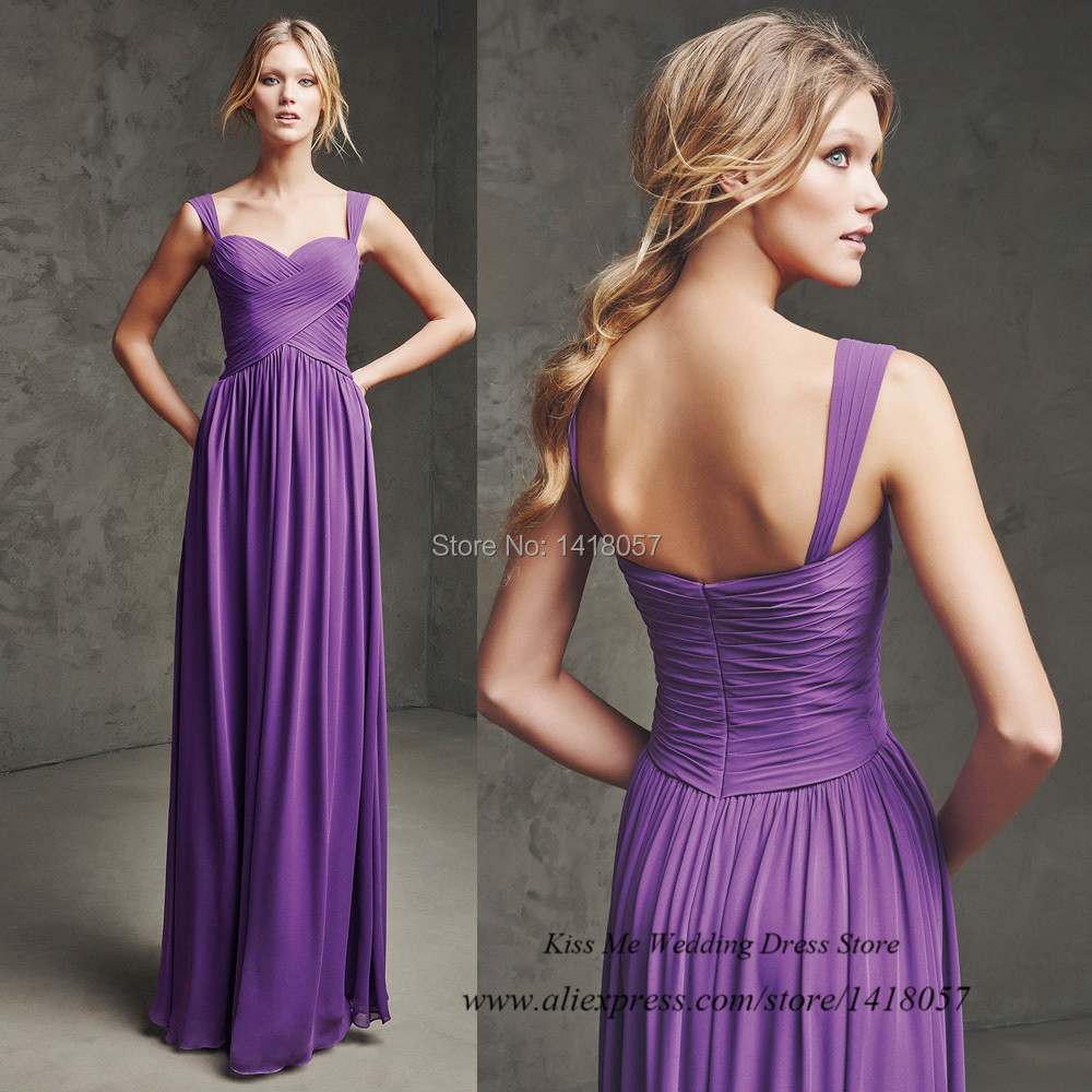 Cheap Long Purple Bridesmaid Dresses Chiffon Pleat Dress ...