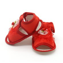 2017 New Baby Girl Lace Flowers Sandals Cotton Fabric Female Sandals Girl Summer Shoes Flowers Sandals for 0-18 M Pink White Red(China)