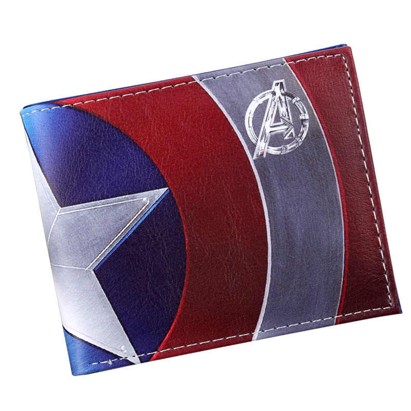 Comics Marvel Avengers Superhero Captain America Shield Faux Leather Bifold  Wallet ID Cash Purse