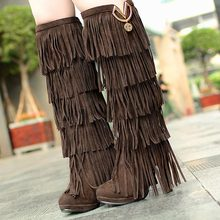 Plus size 32-43 New Flock Winter Women boots High heels over the Knee high boots Fringe Tassels Fashion long boots woman AA255