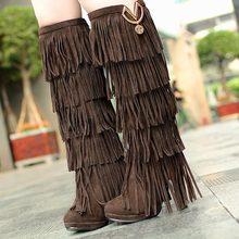 Plus la taille 32-43 Nouveau Troupeau D'hiver Femmes bottes talons hauts sur le Genou haute bottes Fringe Glands De Mode de longues bottes femme AA255