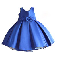 Christmas Girl Dress Dark Blue Pearl Belt Kids Wedding Dress Cute Bow Children Clothes Roupas Infantis