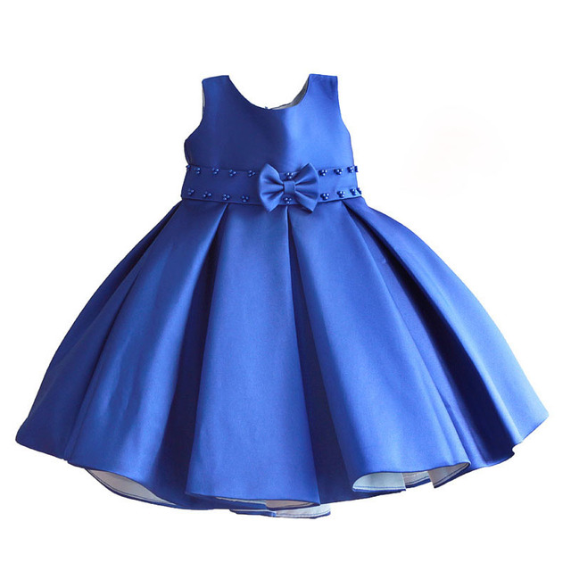 1e3b0aef1ed7 christmas girl dress dark blue pearl belt kids wedding dress cute bow ...