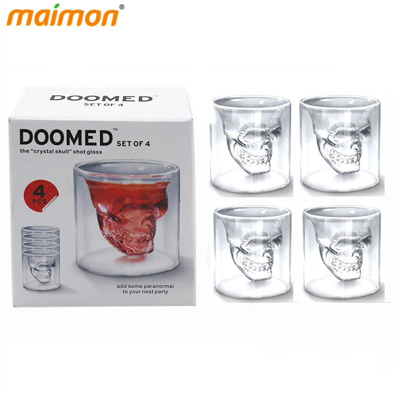 4 pcs/set <font><b>Double</b></font> <font><b>Wall</b></font> Transparent Crystal Skull Head <font><b>Shot</b></font> <font><b>Glass</b></font> Cup Set For Whiskey Wine Vodka Home Drinking Ware Man Gift Cup