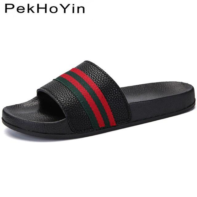 4ef648f965a6c4 Tamanho grande 45 Marca Verão Homens Chinelos Sapatos Calçados de Moda  Masculina Sapatos de Água Lados Borracha Homens Planas Sandálias de Praia  ...